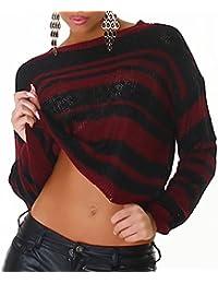 Damen Pullover Pulli Strickpulli gestreift Langarm Sweater Sweat Ripp Größe farbig Neu