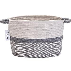 hinwo Oval Baumwolle Seil Aufbewahrungskorb faltbar Kinderzimmer Aufbewahrungsbox Container Organizer mit Griffen, 33 x 25,4 cm (Grey, Mediana)