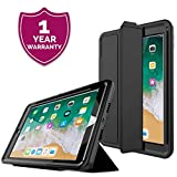 PROTECK Hülle für iPad 9.7 Zoll 2018/2017 - Schutzhülle mit【integrierter Schutzfolie】+【Ständer Funktion】+【Auto Einschlafen/Aufwachen】- Schwarz