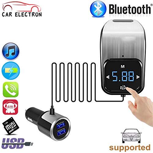 FM Transmitter Touchscreen Entlüftungsöffnung Bluetooth Auto Wirless Radio Adapter AUX MP3 Player Radio Freisprecheinrichtung,Silver