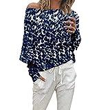 Damen Bluse Mode Leopard Druck T-Shirts Hülse Aus der Schulter Langarmshirts Herbst Pullover(Blau,EU-38/CN-M)