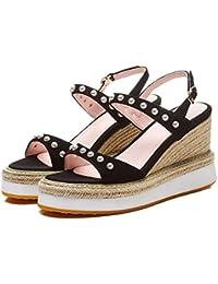 ZHANGJIA i sandali, pearl sandali, le tabelle impermeabili, muffin scarpe, le dita e i tacchi alti,35,rosa