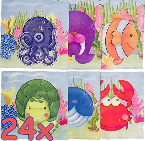 SEA Life * für Kindergeburtstag oder Mottoparty | Meerestiere Party | Ozean Napkins Papierservietten ()