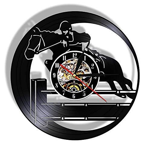 Schallplatte Wanduhr Pferdesport Hobby Wandkunst Reiter Uhr Pferd Liebhaber Geschenk ()
