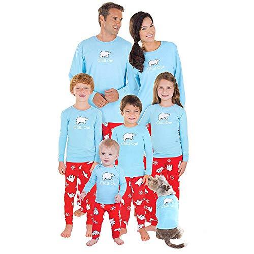 FRAUIT Weihnachten Familie Pyjamas Nachtwäsche Schlafanzug Kleidung Sets Eltern/Pap/Mutter/Kind/Baby Warm Weich Bequem 100% Baumwolle ()