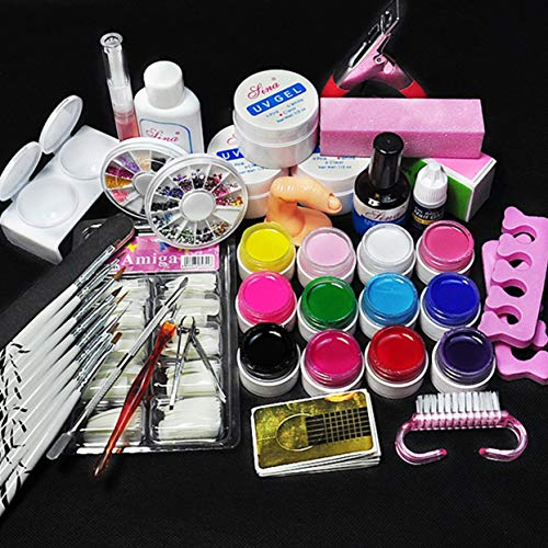 LoveOlvidoD Nail Art Tool Kit Maniküre-Set für Anfänger 12 Farbe UV Gel & 8 Zebra-Pinsel Nail Art Tools Basis Gel Top Coat Gel Kit