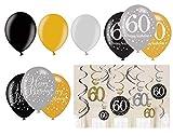 Feste Feiern Geburtstagsdeko Zum 60. Geburtstag | 21 Teile All-In-One Set Luftballons Spiralen Deckenhänger Gold Schwarz Silber Party Deko Happy Birthday