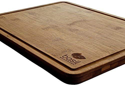 BASIL | Bambus Schneidebrett und Küchenbrett | M | 30 cm x 20 cm x 1,4 cm zum Kochen, Backen, Schneiden | Hackbrett - Tranchierbrett - Servierbrett - Schneidebrett - Küchenbrett