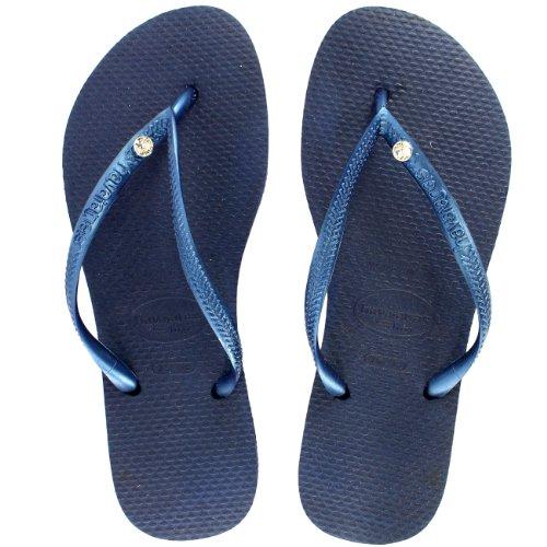 Damen Havaianas Slim Crystal Glamour Sw Flip Flop Sommer Sandale Marine Blau