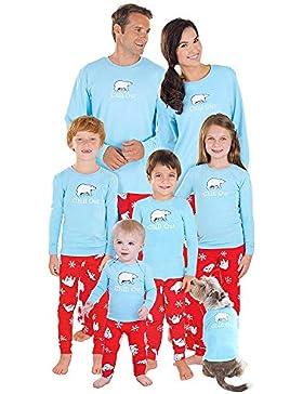 FRAUIT Weihnachten Familie Pyjamas Nachtwäsche Schlafanzug Kleidung Sets Eltern/Pap/Mutter/Kind/Baby Warm Weich...