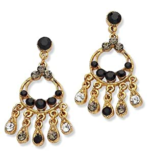 Gold Plated Black & Clear Crystal Earrings
