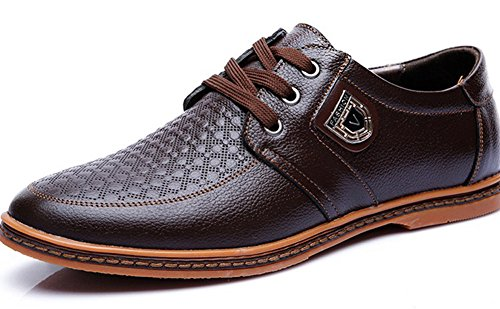 Anlarach Herren Frühlings Beiläufige Reale Lederne Gummisohle Prägung Plus Größen Schuhe Braun Size 42 EU (Schuhe Beaded Flats Slipper)