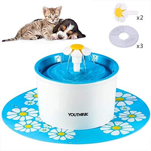 YOUTHINK Automático 901100–Fuente para gatos y perros con 3filtros 2Flores Boquilla 1Silicona Matte mascotas Dispensador de agua näpfe sin BPA, 1.6L, Azul