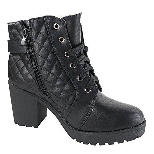 Damen Stiefeletten High Heels Boots gefüttert Stiefel Ankle ST847 Schwarz