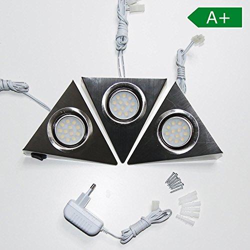 Preisvergleich Produktbild LED Unterbaustrahler 3er Set Küchenbeleuchtung Küche Dreiecksleuchte Edelstahl Lichter