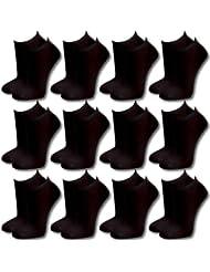 12 Paar modische Sneaker Socken Damen, Herren, Teenager schwarz, weiß, farbig