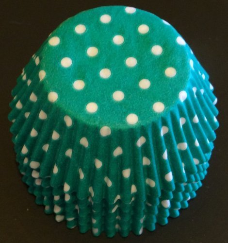 100 Teal Green and White Polka Dots Cupcake Liners Baking Cups STANDARD SIZE by Baking and Candy Cups - Dots Cupcake Liner