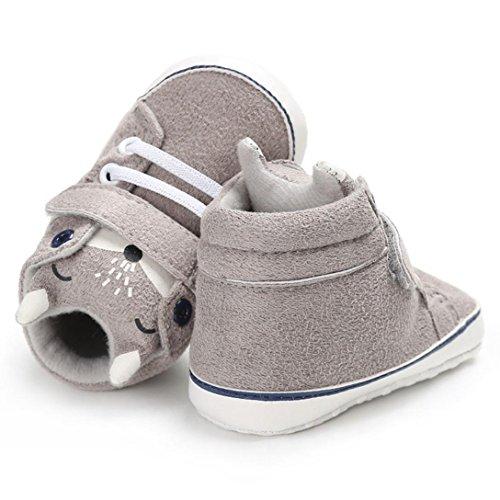 Hunpta Baby Girl Boys Fox High Cut Schuhe Sneaker Anti-Rutsch Soft Sole Kleinkind Grau