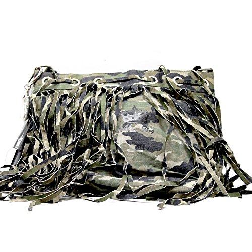 Mia Bag borsa in tela militare con perline e frange