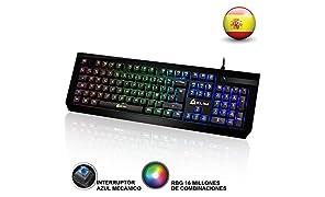 KLIM Domination - Teclado Mecánico RGB ESPAÑOL - Interruptores Azules - Tecleo Rápido, Preciso y Cómodo -5 Años de Garantía- Teclado Gaming Retroiluminado - Completa Personalización de Colores PC PS4