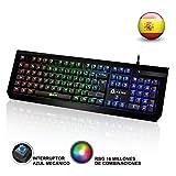 KLIM Domination - Teclado mecánico RGB ESPAÑOL - Interruptores azules - Tecleo rápido, preciso y cómodo - 5 años de garantía - Teclado gaming retroiluminado - Completa personalización de colores - PC