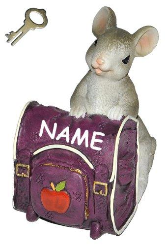 alles-meine.de GmbH Spardose -  Maus mit lila Rucksack / Schulranzen  - incl. Name - mit Schlüssel - stabile Sparbüchse aus Kunstharz - Schulanfang Mäuse Geld Sparschwein Kohle..