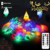 LUNSY ichterkette 30LED Halloween lichterketter Farbgeist with Fernbedienung Wasserdicht für Außen Weihnachten Halloween Party Park Fest Deko ...