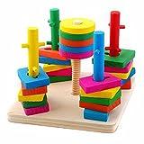 #3: CraftDev Wooden Intellevtual Geometric Shapes Matching Five Column Set Building Blocks Toys For kids +3 years