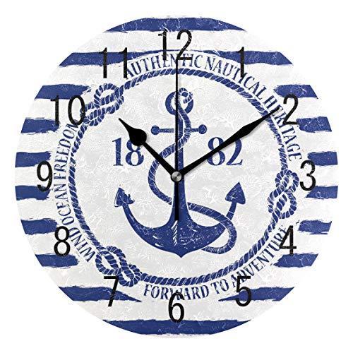 Domoko Home Decor Blau Maritim Anker Gestreift Rund Acryl Wanduhr Geräuschlos Silent Uhr Kunst Wohnzimmer Küche Schlafzimmer