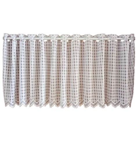 UniEco Scheibengardine mit Ösen Transparent Bistrogardine Weiß Plaid Küchen Vorhang, BxH: 150x40cm (Plaid Vorhänge)
