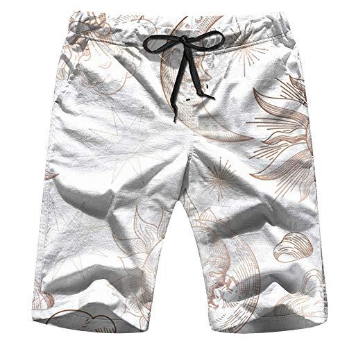 OOworld Men's Swim Trunks Sun Moon Vintage Oriental Celestial Quick Dry Beach Wear Shorts Swimwear with Pockets,XXL -