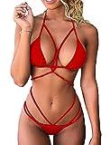 chicolife Damen Bandage Triangel-Bikini Satz Push-up Gepolstert Halter Bandeau Badeanzug Baden