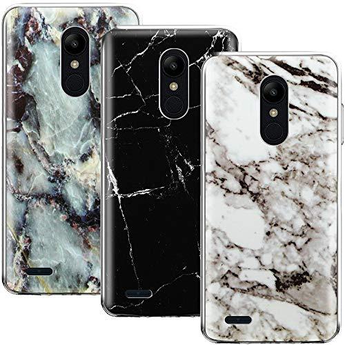 CLM-Tech 3 x Funda LG K8 2018 / K9, Silicona TPU Case Mármol Negro Blanco 3 Conjunto Carcasa para LG K8 2018 / K9 Cover