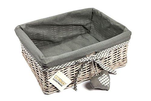 Cesta de mimbre para almacenamiento de WoodLuv; con forro, color gris