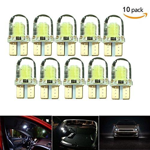 HyFLumen T10 Ampoules de voiture Led Blanc 10 Paquet - 194 W5W COB 8 SMD 6500K 2W 12V Auto Ampoule LED - Remplacement Plaque Signalétique De Plaque De Tableau De Bord Intérieure Avant Les lampes - [10Pack-Blanc]