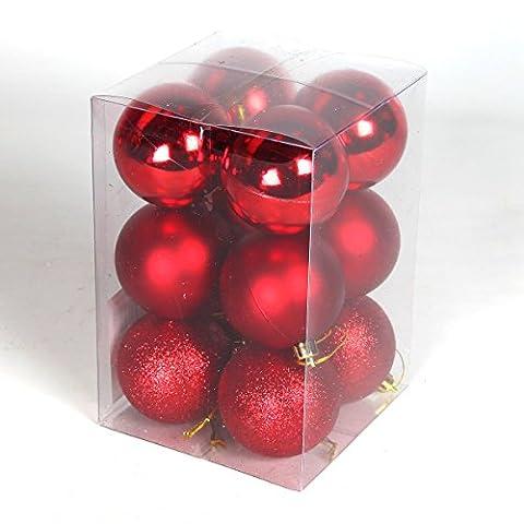 12er Set Gemischte bruchsichere Weihnachtskugeln (60mm, Rot)