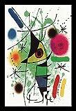 gerahmt Der singende Fisch vON Joan Miro 18x 12Museum Poster Kunstdruck
