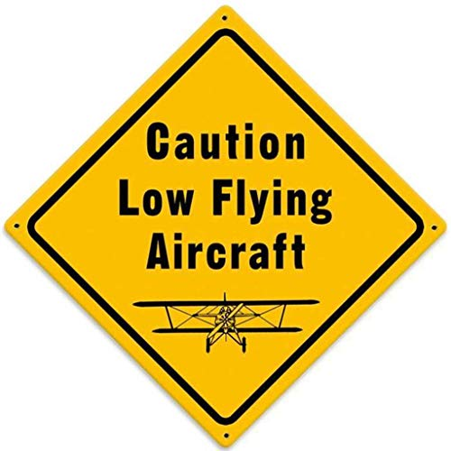 MENYRU Low Flying Aircraft Retro Metal Signs for Wall Art Decoration 12 x 12 Inches -