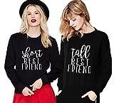Friends Pullover für Zwei Damen Mädchen Set Sister Sweatshirt Hoodie Partner Look Rundhals Kapuzenpullis BFF Geschenk 2 stücke (Schwarz+Schwarz,Short-M+Tall-M)