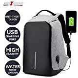 #7: AllExtreme Anti theft Backpack Waterproof Business Laptop Bag with USB Charging Port for 14 Inch Laptop, Notebook, Camera and Mobile (Grey)