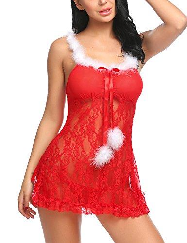 Feder Trim Dessous (Avidlove Dessous Kleid Sexy Weihnachten Negligee Zurück öffnen Babydoll Reizwäsche Damen Nachtwäsche Erotik Spitze Lingerie Transparent)