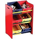 Premier Housewares - Estantería de 3 pisos para habitación infantil (6 compartimentos de lona, 64 x 36 x 30 cm), color rojo, amarillo y azul