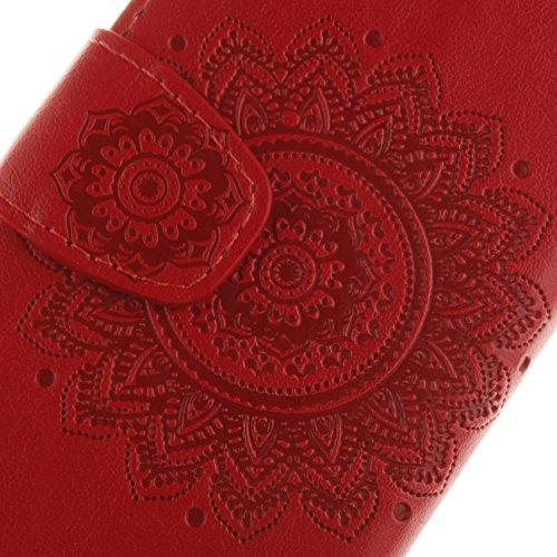 iPhone 6 Ledertasche, Aeeque® iPhone 6S Lila Brieftasche Flip Case Cover,[Schick Henna Blumen Muster] Kartenfach Standfunktion Handytasche für iPhone 6/6S mit Abnehmbar Handy Lanyard und Weich Silikon Campanula Rot