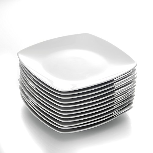 MALACASA, Série Julia, 12pcs Assiettes Plates Porcelaine, Assiettes Plats de Services 12 Personnes