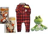 STIHL Baby Geschenk Set Plüschtier Frosch Baby Strampler 62/68 Baby Nuckel Schnullerkette