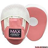 MAXSTRENGTH ® Fokus Pads, Haken, Jab und Boxhandschuhe Boxhandschuhe MMA, Muay Thai, Kickboxen, Martial Arts Sparring, Boxsack Pad. Pink Curved