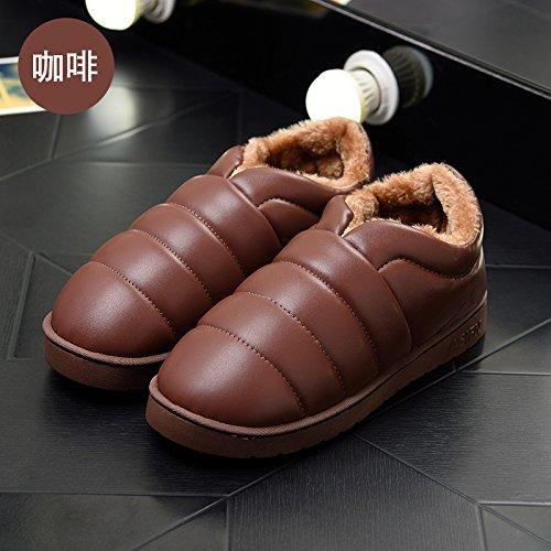 DogHaccd pantofole,Le eleganti stivali in autunno e inverno stivali impermeabili in pelle antiscivolo neve piatti caldi stivali scarpe di cotone Brown1