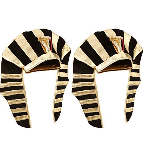Pack de 2 gorros de faraón Rey de faraón egipcio tocado para hombres y mujeres traje tocado corona sombrero disfraz, dorado y negro   características:  Sombrero de ropa muy aplicable.  Un tamaño estándar se adapta a la mayoría de los adolescentes y ...