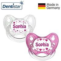 Dentistar® Silikon Schnuller 2er Set inkl. 2 Schutzkappen - Nuckel Größe 1 von Geburt an, 0-6 Monate - Beruhigungssauger für Babys | Namen Edition