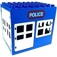 Preisvergleich für 1 x Lego Duplo Gebäude Polizei Wache blau weiss 6x8x6 gross Police Haus Puppenhaus Fenster Tür Tor 2206 2205 2209 2210pb01